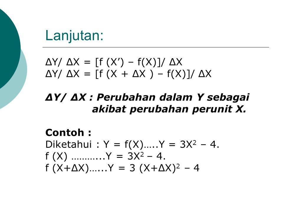 Lanjutan: ΔY/ ΔX = [f (X') – f(X)]/ ΔX
